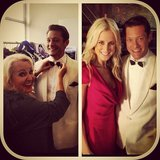 Rob Mills got suited up with the help of Prue MacSween and Roxy Jacenko. Source: Instagram user robmillsymills