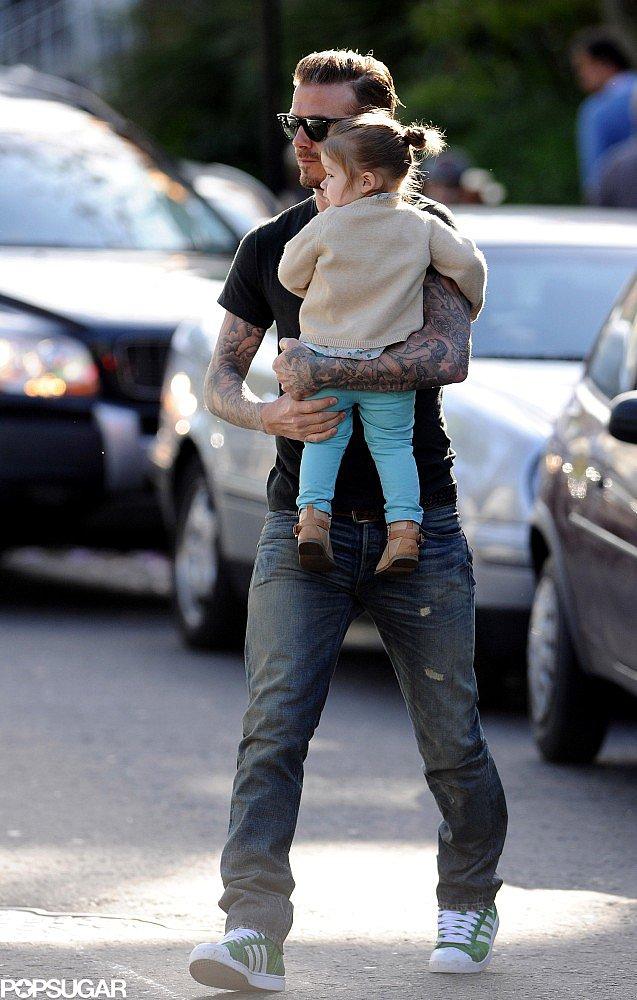 Harper Beckham Smiles Big in London With Dad David