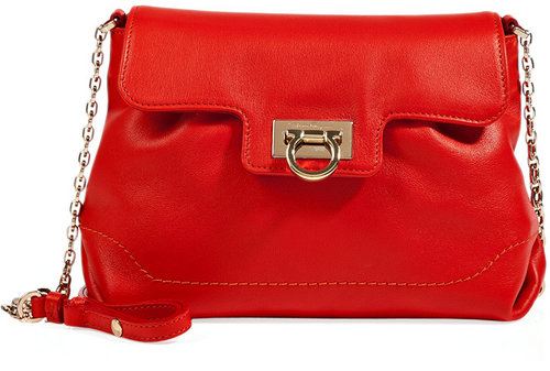 Salvatore Ferragamo Lava Red Leather Amelie Shoulder Bag