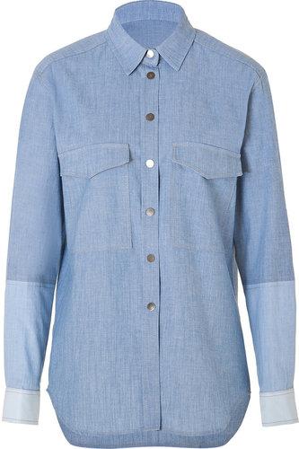 Victoria Beckham Denim Cotton Oversized Mens Shirt in Chambray