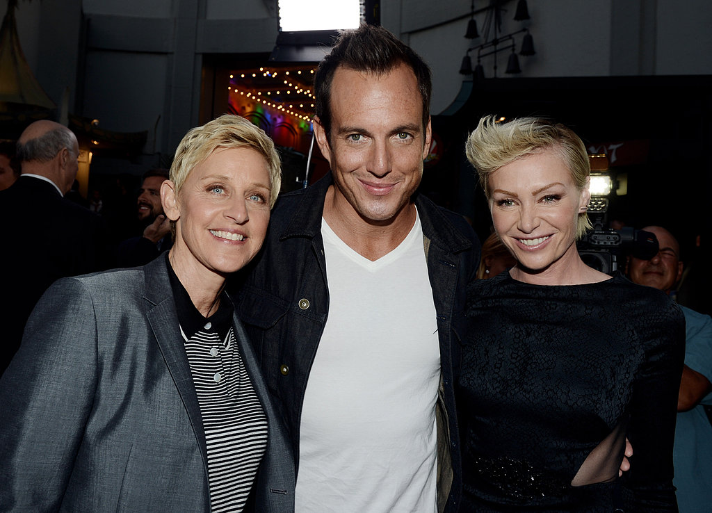 Will Arnett hugged Ellen DeGeneres and Portia de Rossi at the premiere.