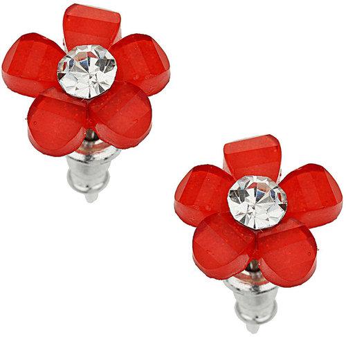 Red Pretty Flower Stud Earring