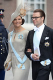Crown Princess Victoria of Sweden and Prince Daniel, Duke of Västergötland, smiled as they left the ceremony.
