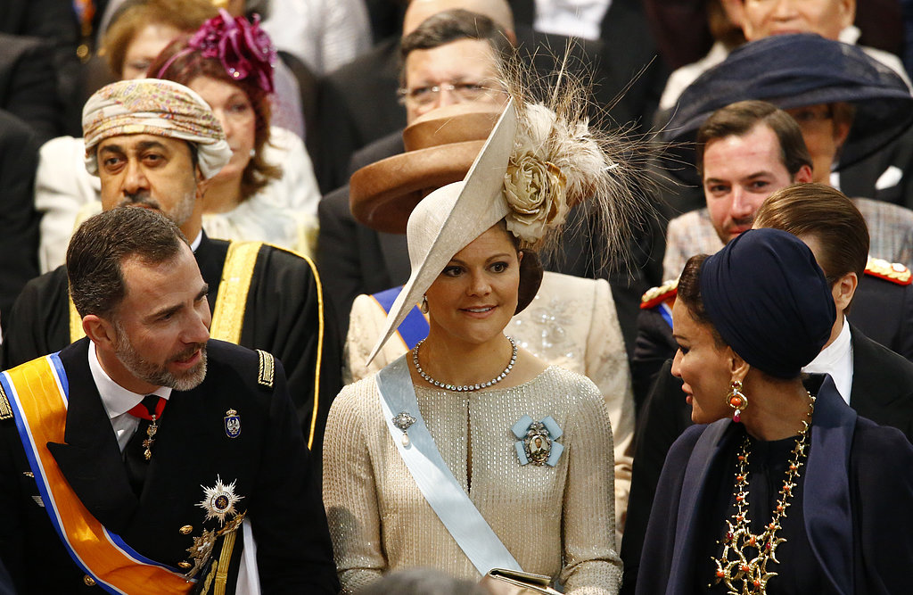 Princess Victoria of Sweden wore an extravagant hat for the affair.