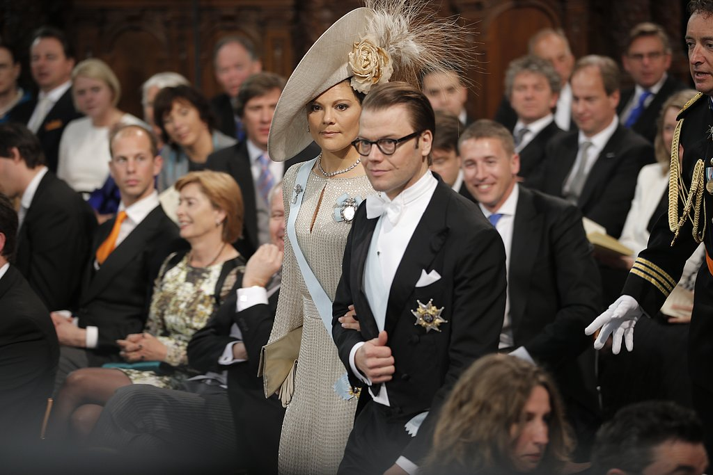 Prince Daniel and Princess Victoria of Sweden walked through New Church during the inauguration.