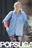 Kristen Bell wore floral pants and a denim shirt in her first sighting since giving birth to Lincoln Shepard.