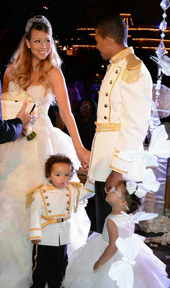 Mariah Carey and Nick Cannon wore fairy-tale-themed outfits for their May 2013 vow renewal, for which they shut down Disneyland to host 250 guests with their twins Monroe and Moroccan.  Source: Twitter user MariahCarey