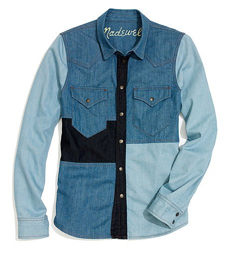 We're dying to see this Madewell Western patchwork shirt ($80, originally $158) with blue denim cutoffs for a cool denim-on-denim mix. You can leave it open over a white tee or button it up for a more streamlined feel.