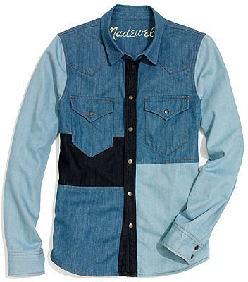Western jean shirt in patchwork