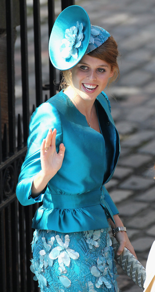 Princess Beatrice went with turquoise blue for Zara Phillips and Mike Tindall's wedding in 2011.