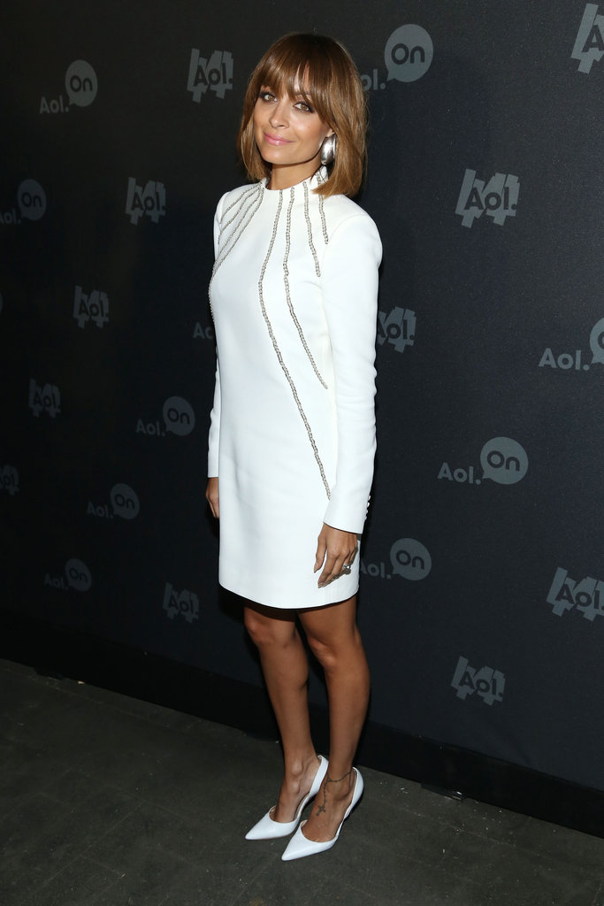 Nicole Richie took an all-white approach at the 2013 Digital Content NewFront in NYC: a white Saint Laurent long-sleeved dress with crisp white pointy pumps.