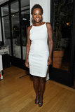 Viola Davis showed off her figure in a formfitting white dress, adding gunmetal sandals for just enough shine.