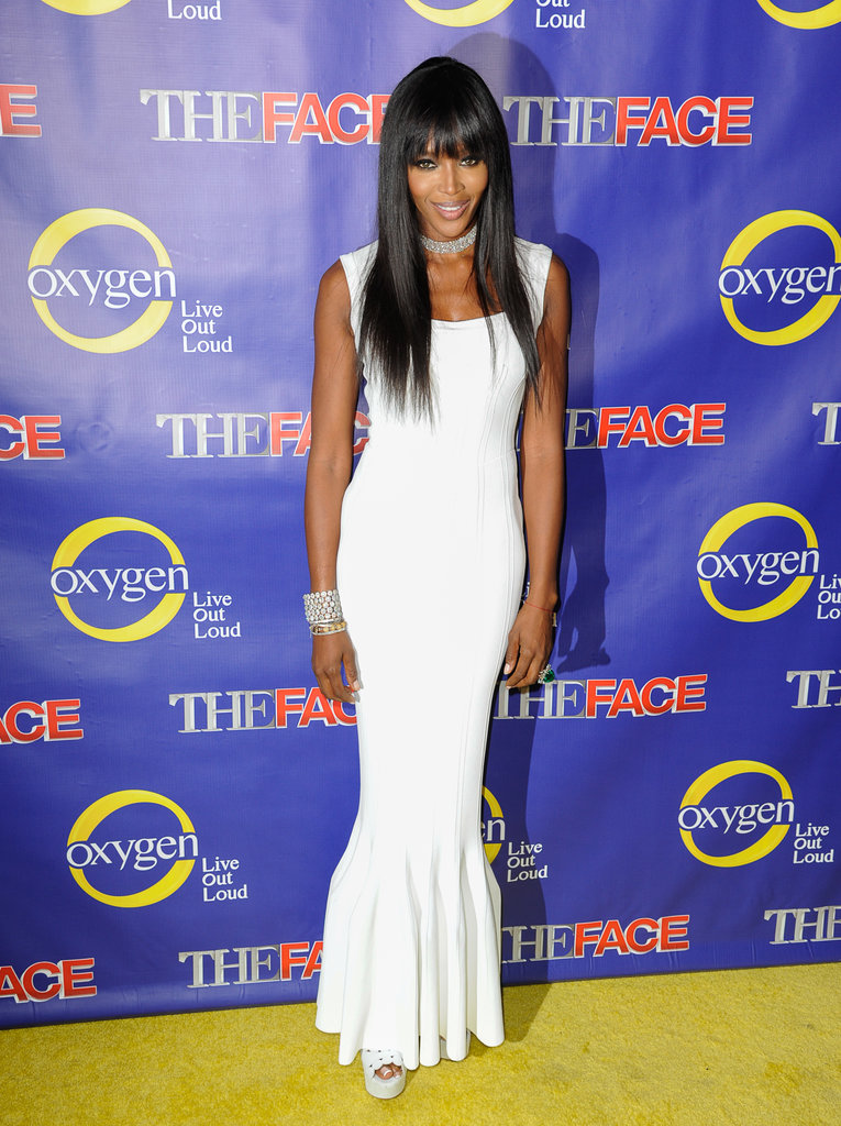 Naomi Campbell was svelte in a white Azzedine Alaïa column dress with a dramatic pleated hemline at The Face series premiere party in NYC.