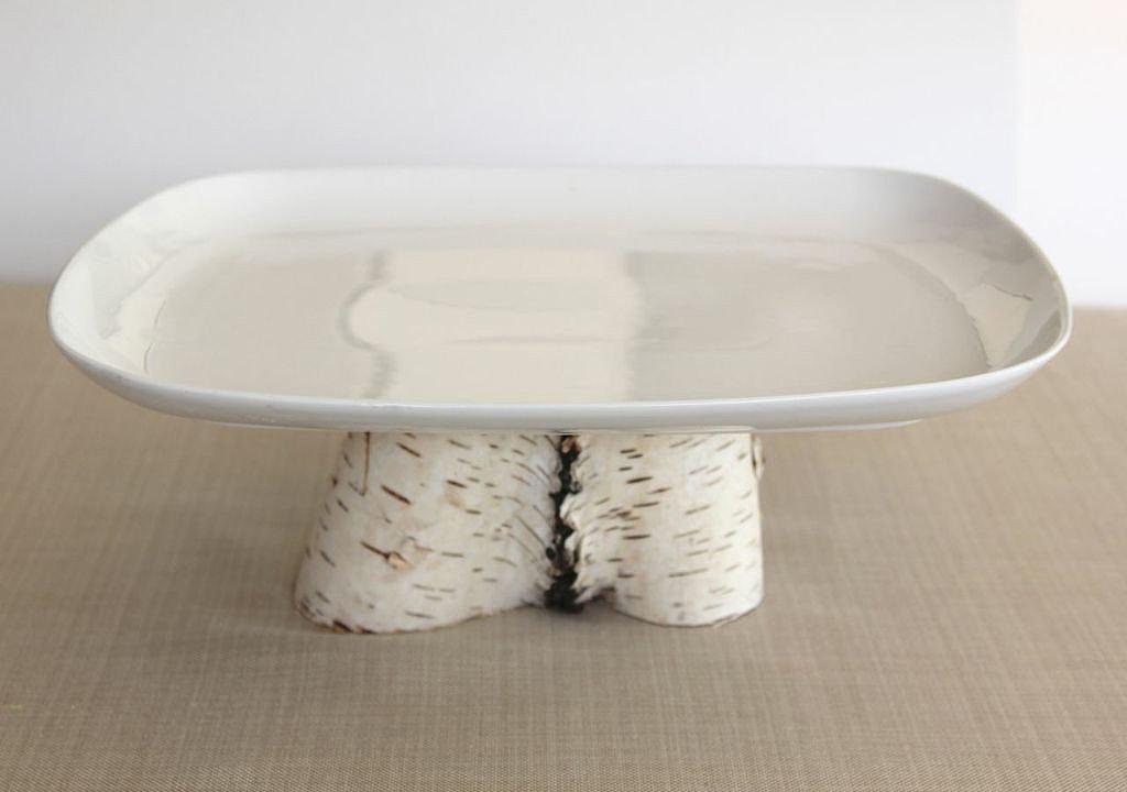 Birch Pedestal Platter