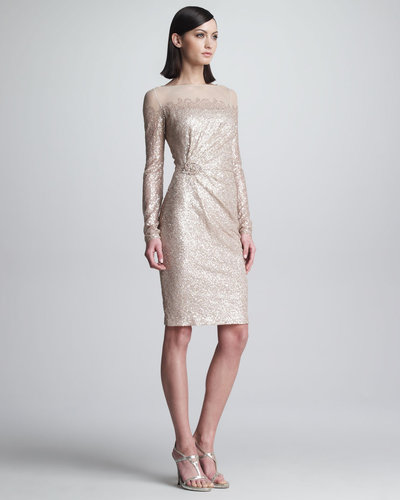 David Meister Sequined Long-Sleeve Cocktail Dress