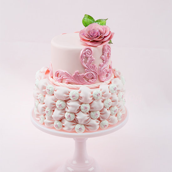 fabric fondant wedding cake