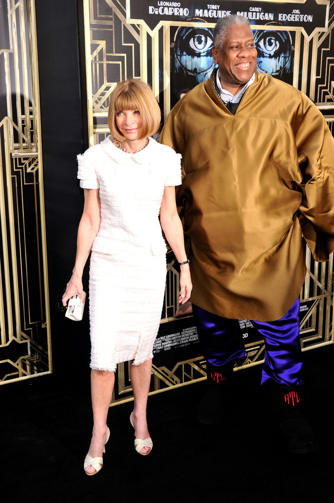 Anna Wintour made an entrance with André Leon Talley at the Great Gatsby premiere wearing a white Chanel dress paired with her go-to Manolo Blahnik pumps.