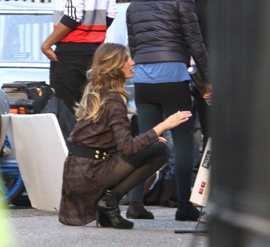 Gisele was spotted in London shooting the Fall '13 campaign for H&M.