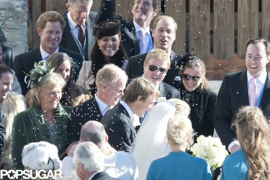 Prince Harry, Kate Middleton, and Prince William watched the rice fly during a Swiss wedding ceremony in March.