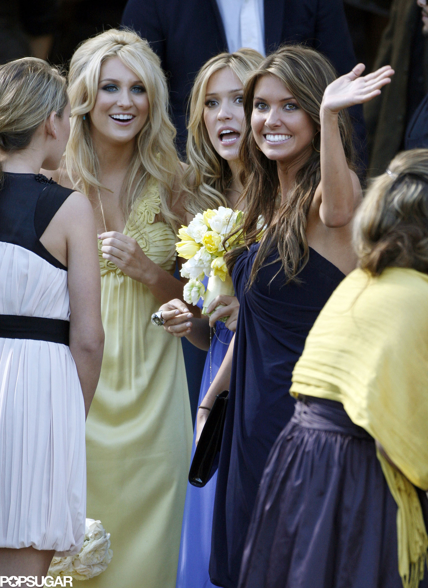 Stephanie Pratt, Kristin Cavallari, and Audrina Patridge smiled at Heidi Montag and Spencer Pratt's LA nuptials in April 2007.