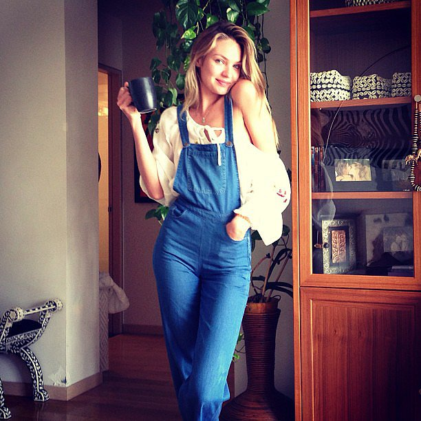Candice Swanepoel showed off our favorite new Summer trend — overalls! Source: Instagram user angelcandices