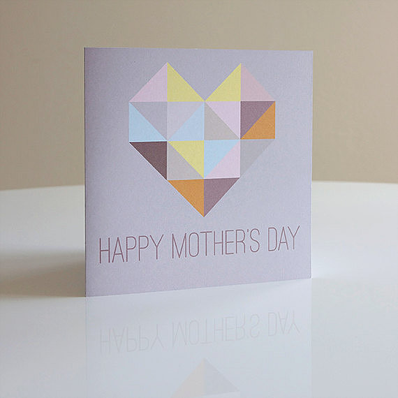 A mod, mosaic heart card ($4) by Mardi & Me is a top pick for an artsy mama.