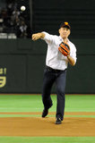 Tom Hanks hit the mound to throw out the first pitch for a professional baseball team in Japan in May 2009.