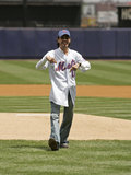 Marc Anthony donned his Mets garb to throw the first pitch at an NYC game in May 2005.