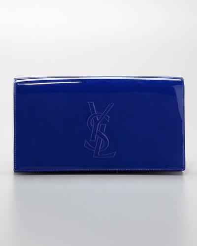 Saint Laurent Belle du Jour Large Clutch Bag, Blue