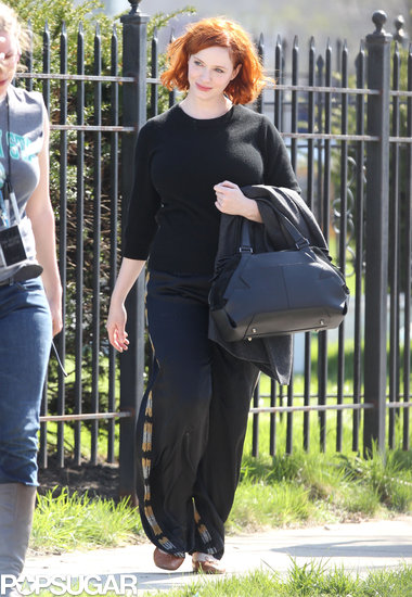 Christina Hendricks arrived on the How to Catch a Monster set.