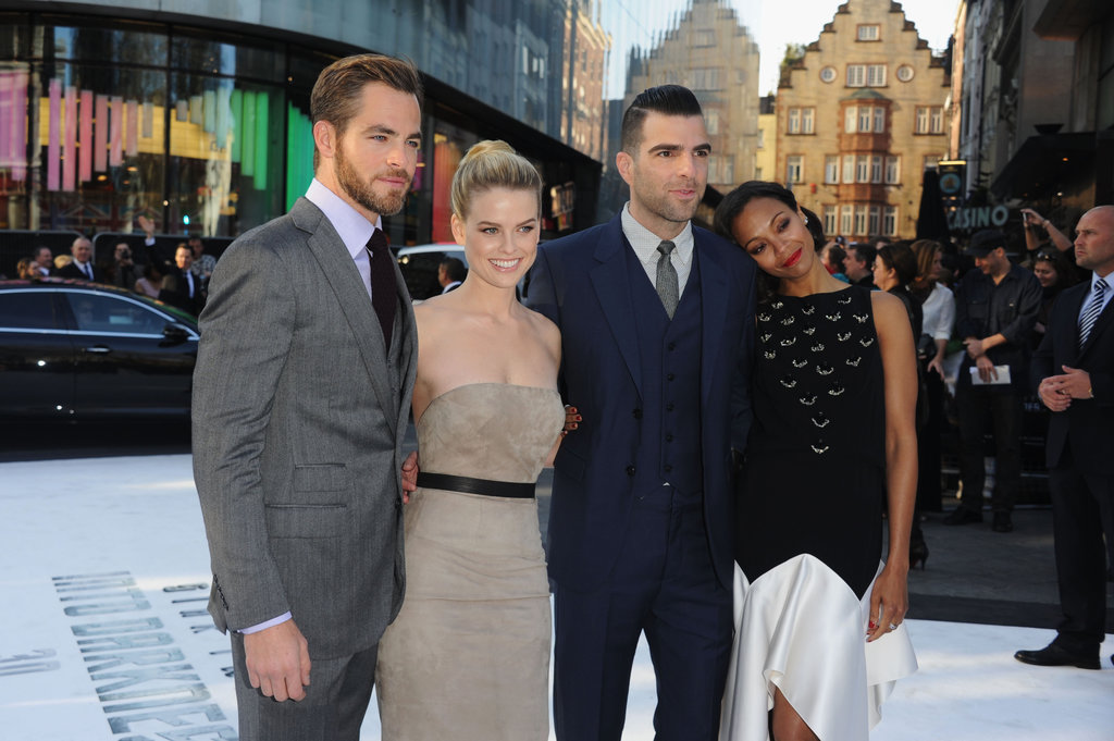Chris Pine, Alice Eve, Zachary Quinto, and Zoe Saldana cuddled up at the UK premiere of Star Trek Into Darkness.
