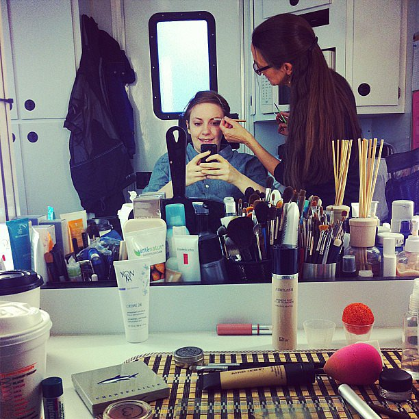 Lena Dunham had a little fun while getting her makeup done. Source: Instagram user lenadunham