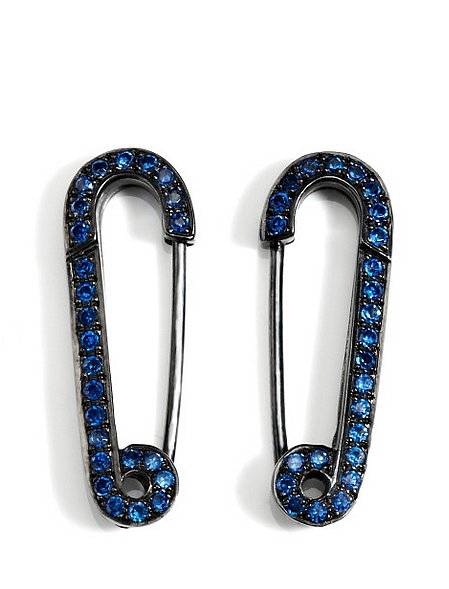 Genevieve Jones Black & Blue Safety Pin Earrings ($700)