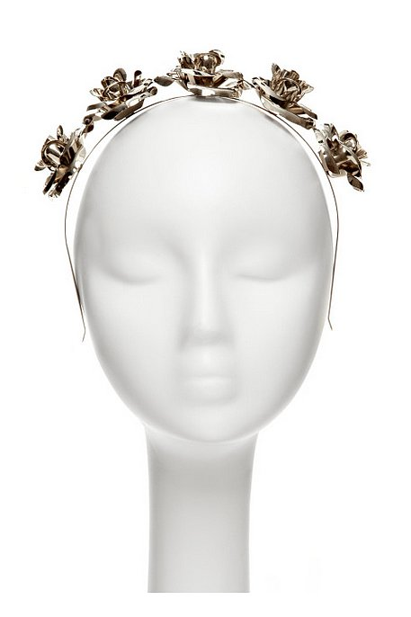 Mordekai Silver Oxidized Headband With Roses ($395)