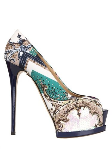 150mm Embroidered Printed Satin Pumps