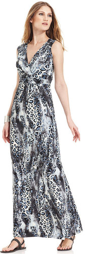 NY Collection Dress, Sleeveless Pleated Empire-Waist Animal-Print Maxi