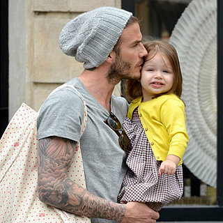 David Beckham Kisses Harper in Paris