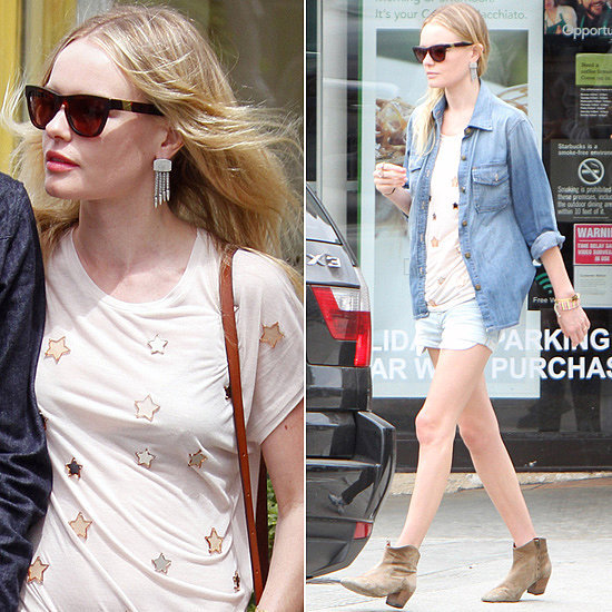 Kate Bosworth paired her Louisiana Purchase ($165) Westward Leaning sunglasses with a Mulberry t-shirt, denim shorts, and JewelMint baubles for a stroll around LA with her main man, Michael Polish.