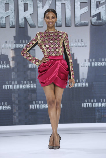 Zoe Saldana kicked off the Star Trek promo tour in a leg-flaunting Balmain mini.