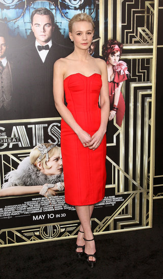 Carey Mulligan drew all eyes at The Great Gatsby's world premiere in a fiery red Lanvin look.