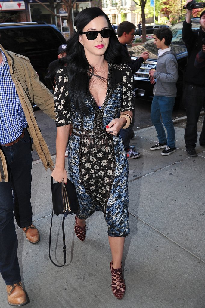 Katy Perry continued her style revamp in NYC, this time in a printed Bottega Veneta number and lace-up heels.