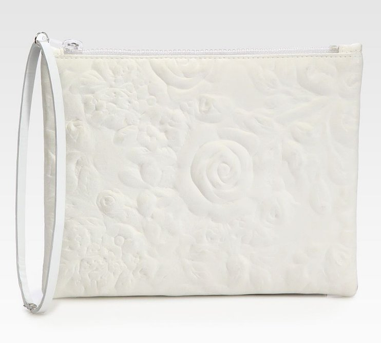 Thanks to the subtle floral design and minimalistic shape on this Christopher Kane rose-embossed leather clutch ($700), it has cool bride written all over it. The wrist strap makes it super convenient, too.