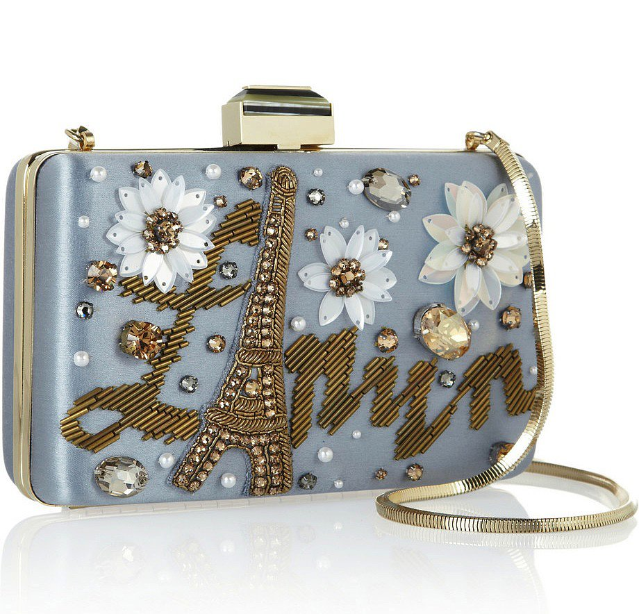 If you have the means, we recommend pulling in your something blue with Lanvin's Sea Breeze embellished satin box clutch ($1,985). The Eiffel Tower detail is perfect for the Francophile.