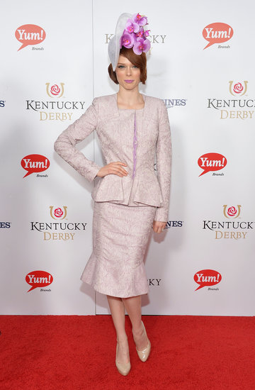 Model Coco Rocha brought a bright hat to Saturday's Kentucky Derby.