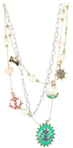 Betsey Johnson - Ivy League Toc Anchor Cameo Necklace (Green/Antique Gold) - Jewelry