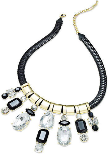 Material Girl Necklace, Gold-Tone Black Rope Stone Statement Necklace