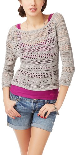 Sheer Cropped Crochet 3/4 Sleeve Top
