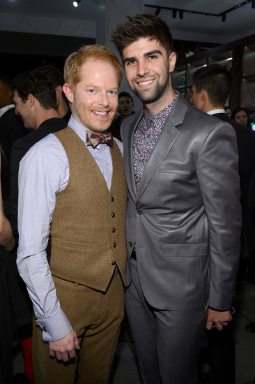 Jesse Tyler Ferguson and Justin Mikita came out for the opening of a Dolce & Gabbana store on Fifth Avenue in NYC.