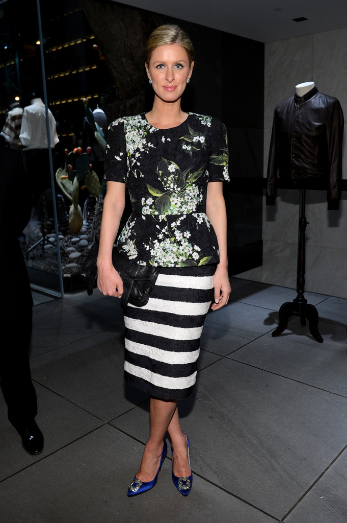 Nicky Hilton mixed patterns for a Dolce & Gabbana store opening event in NYC.