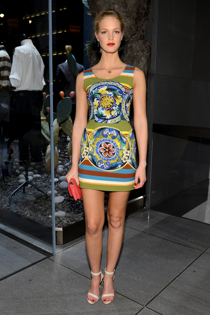 Erin Heatherton chose one of Dolce & Gabbana's wildly printed minidresses for the label's Fifth Avenue flagship opening.